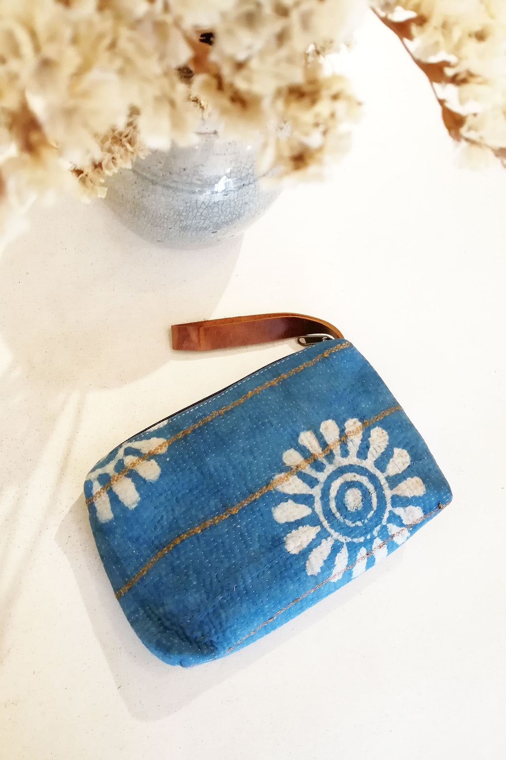 Small Boho Clutch Bag in Indigo Block Print Fabric
