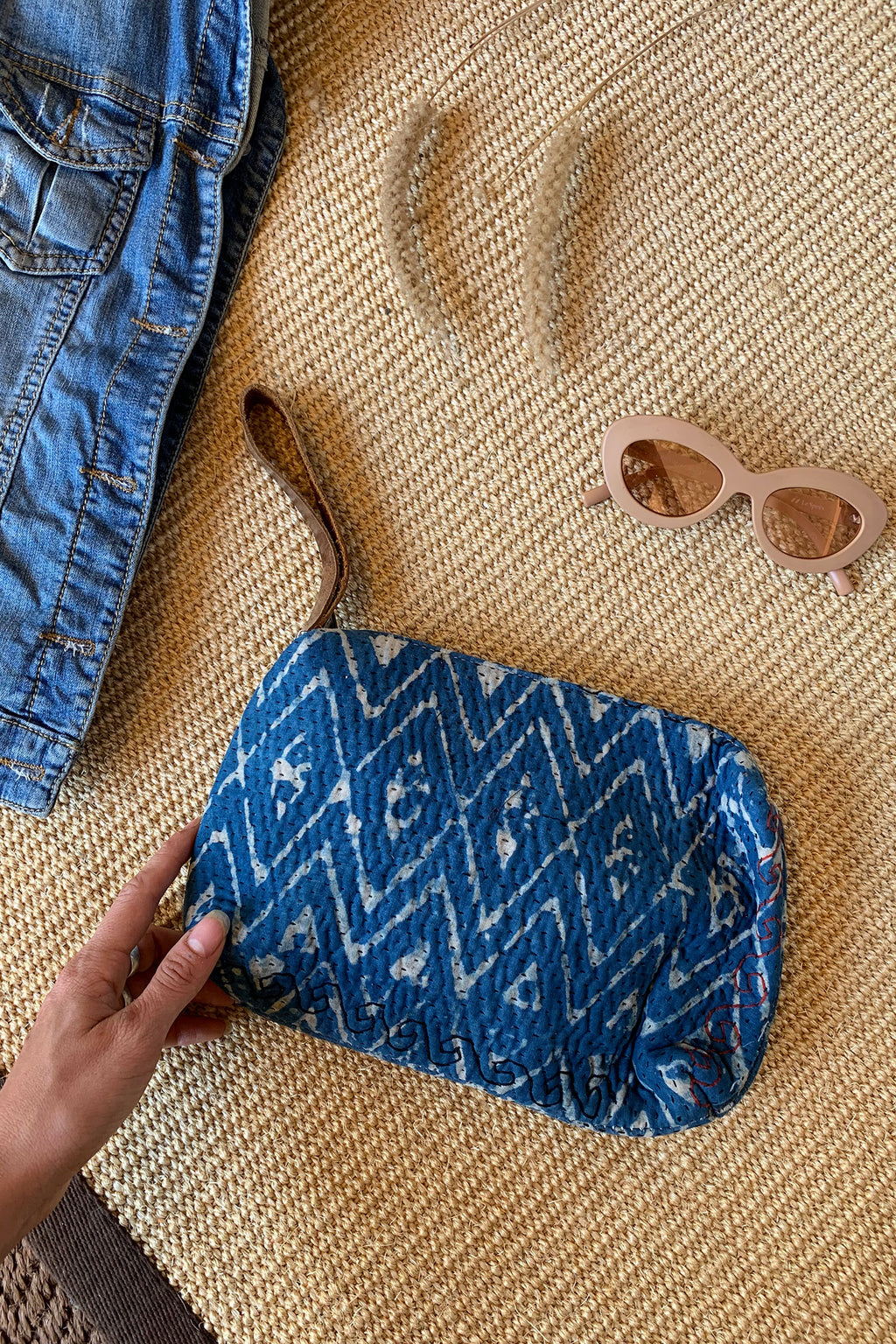 Boho Clutch from Vintage Block Printed Fabric and LEather