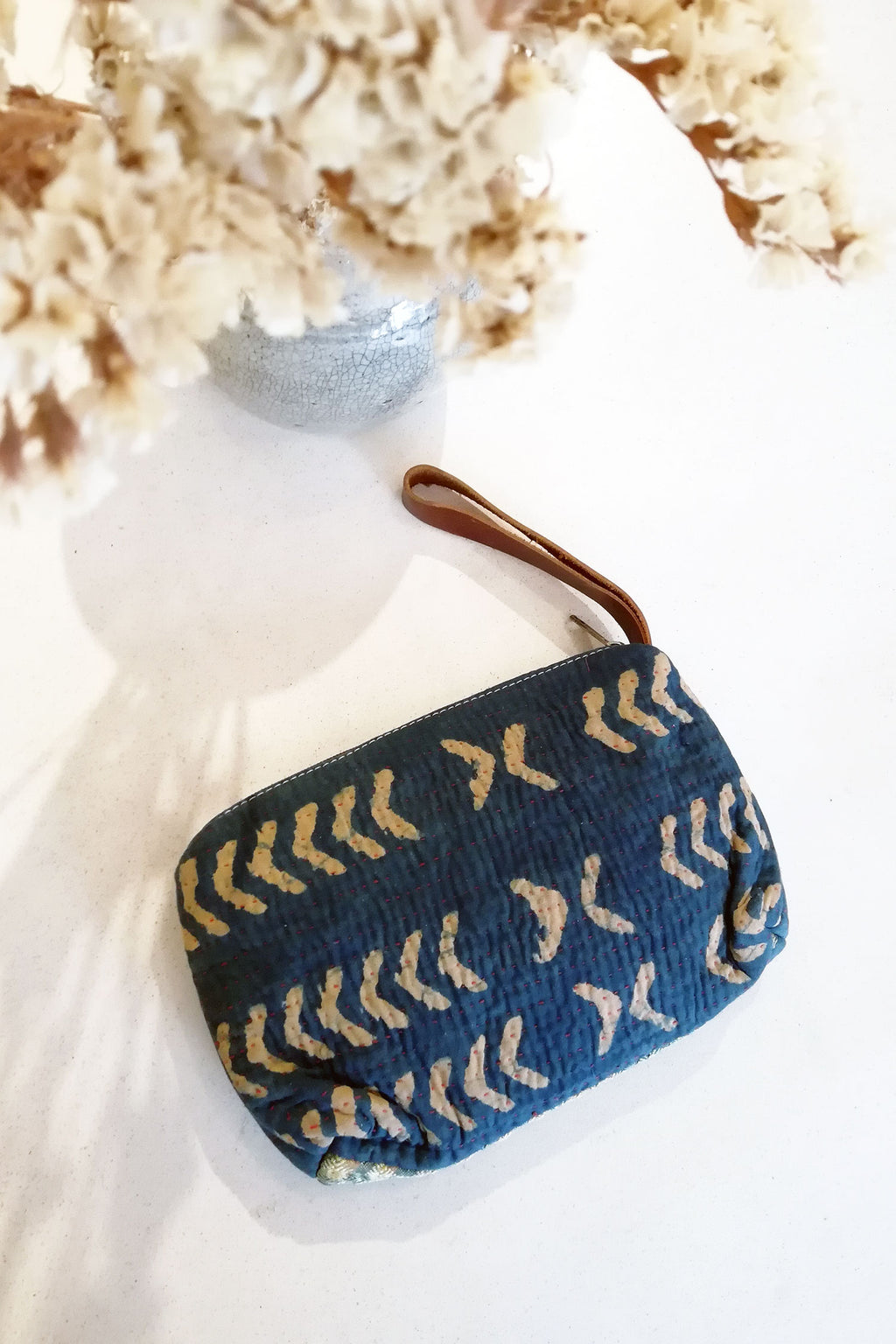 Make-up Clutch Bag in Indigo Vintage Fabric