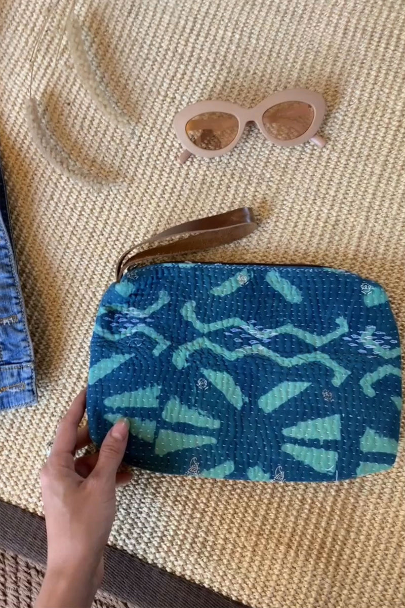 Kantha Vintage Fabric Unisex Clutch Bag