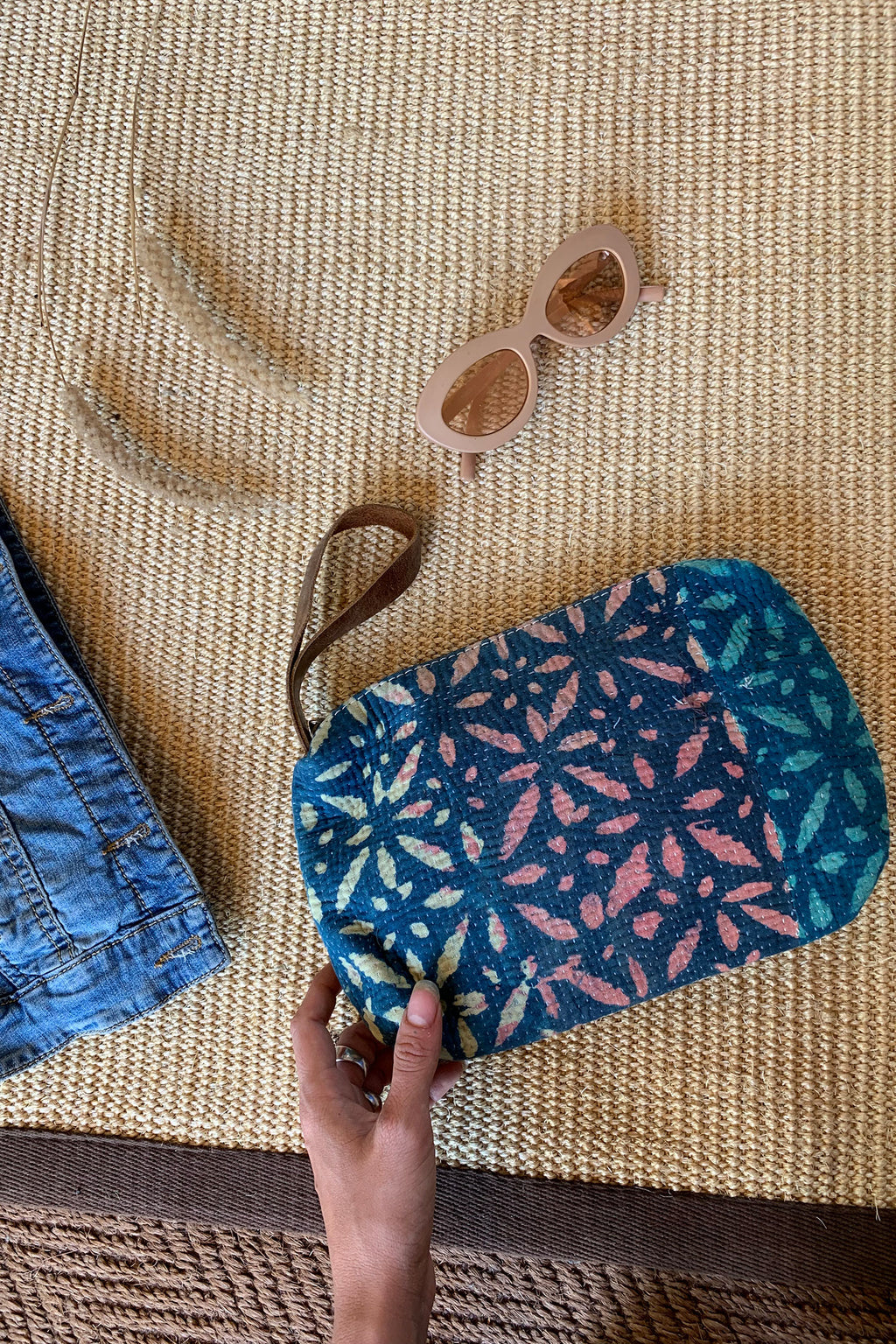 Indigo and Pink Floral Block Print Clutch