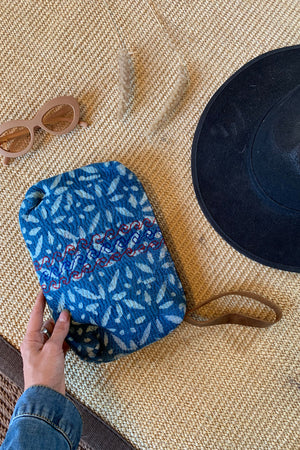 Indigo and Off-White Block Print Clutch Bag