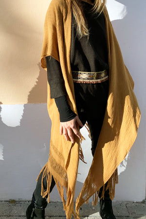 Mustard Raw Silk Boho Cape
