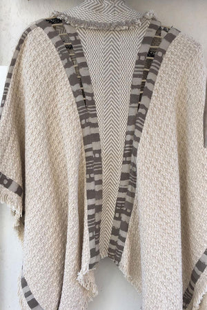 Aro Poncho Boho Vest In White And Grey Block Print Cotton