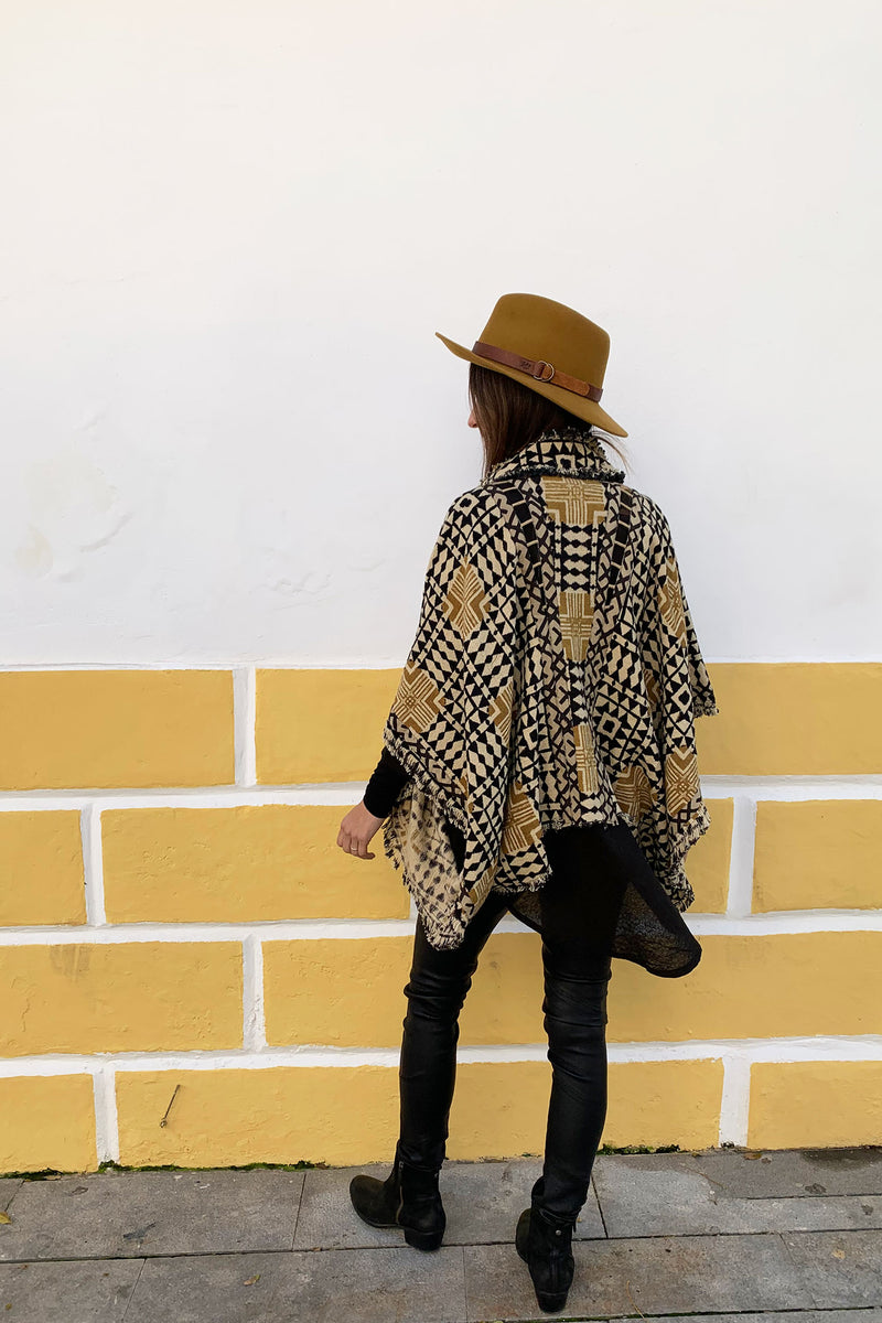 Arrow Poncho Boho Vest In Mustard Block Print Cotton