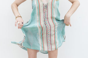Short Silk Turquoise Printed Dress