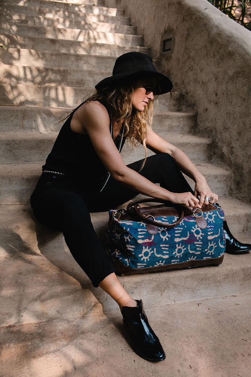 Indigo and Leather Weekender Bag