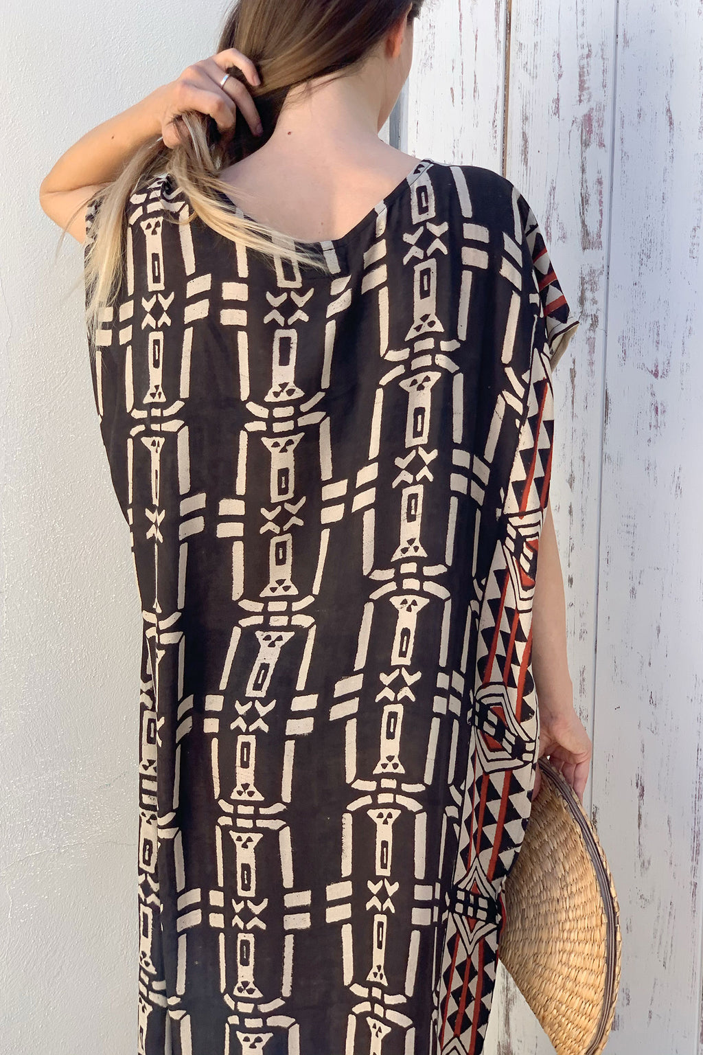 beach dress long black red and white massakai tribal block print