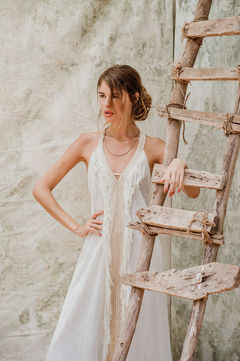 Beduin Boho White Dress In Raw Silk With Tassels
