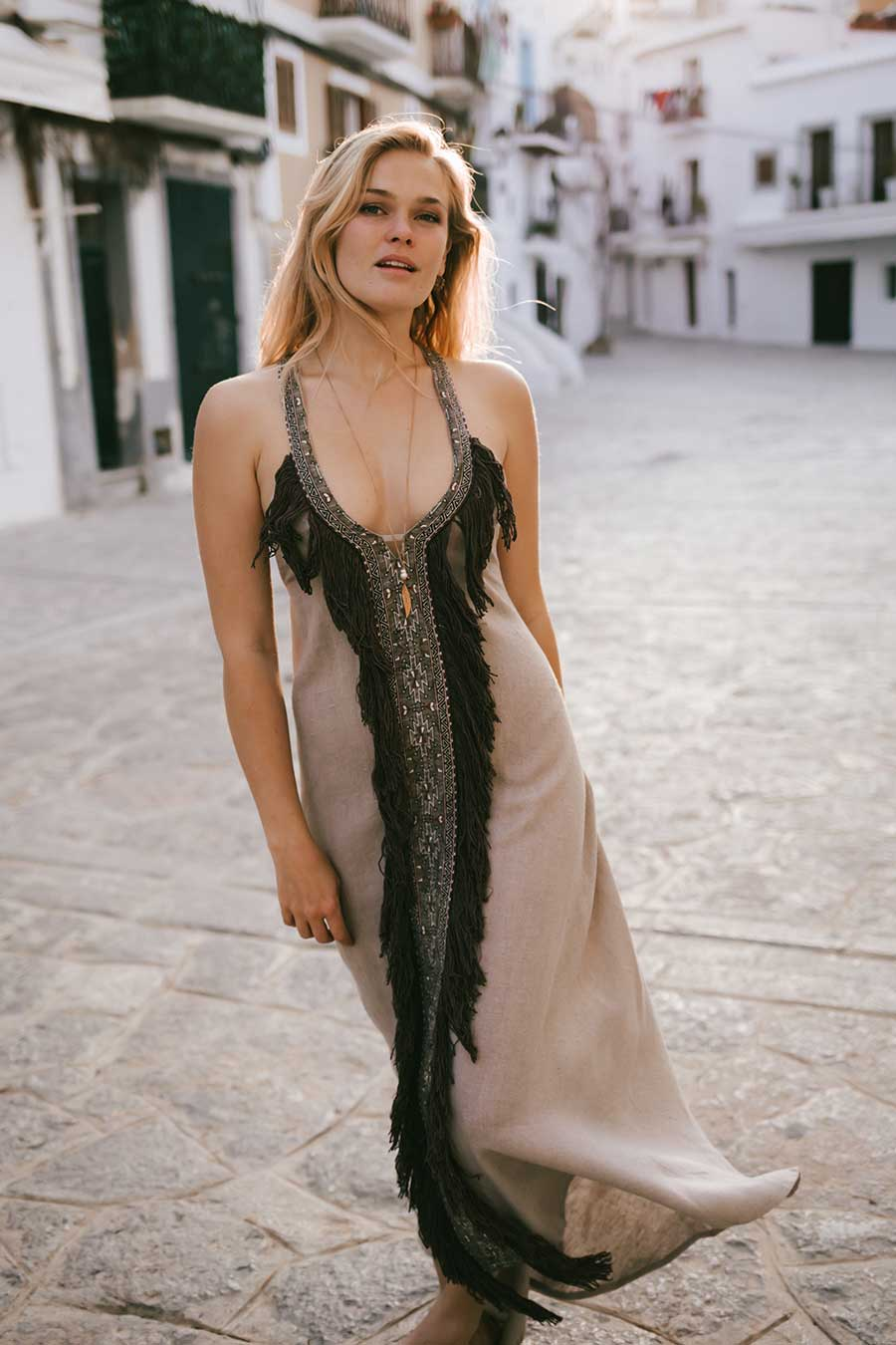 Beduin Boho Dress In Ash Raw Silk With Brown Tassels