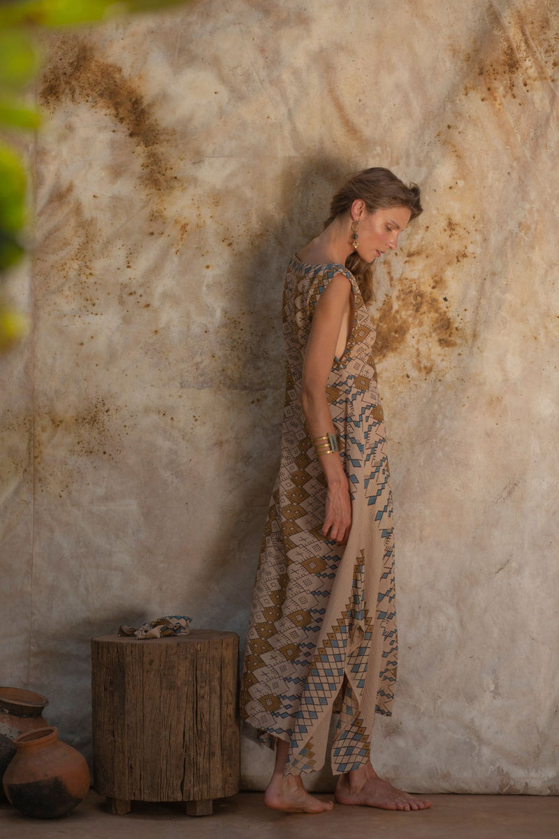 Beige Long Bohemian Summer Dress
