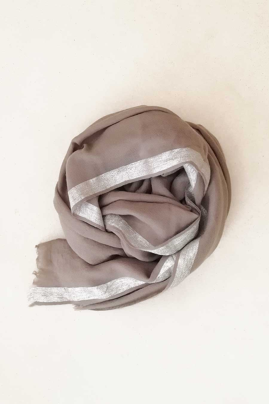Beige Scarf with Silver Stripe
