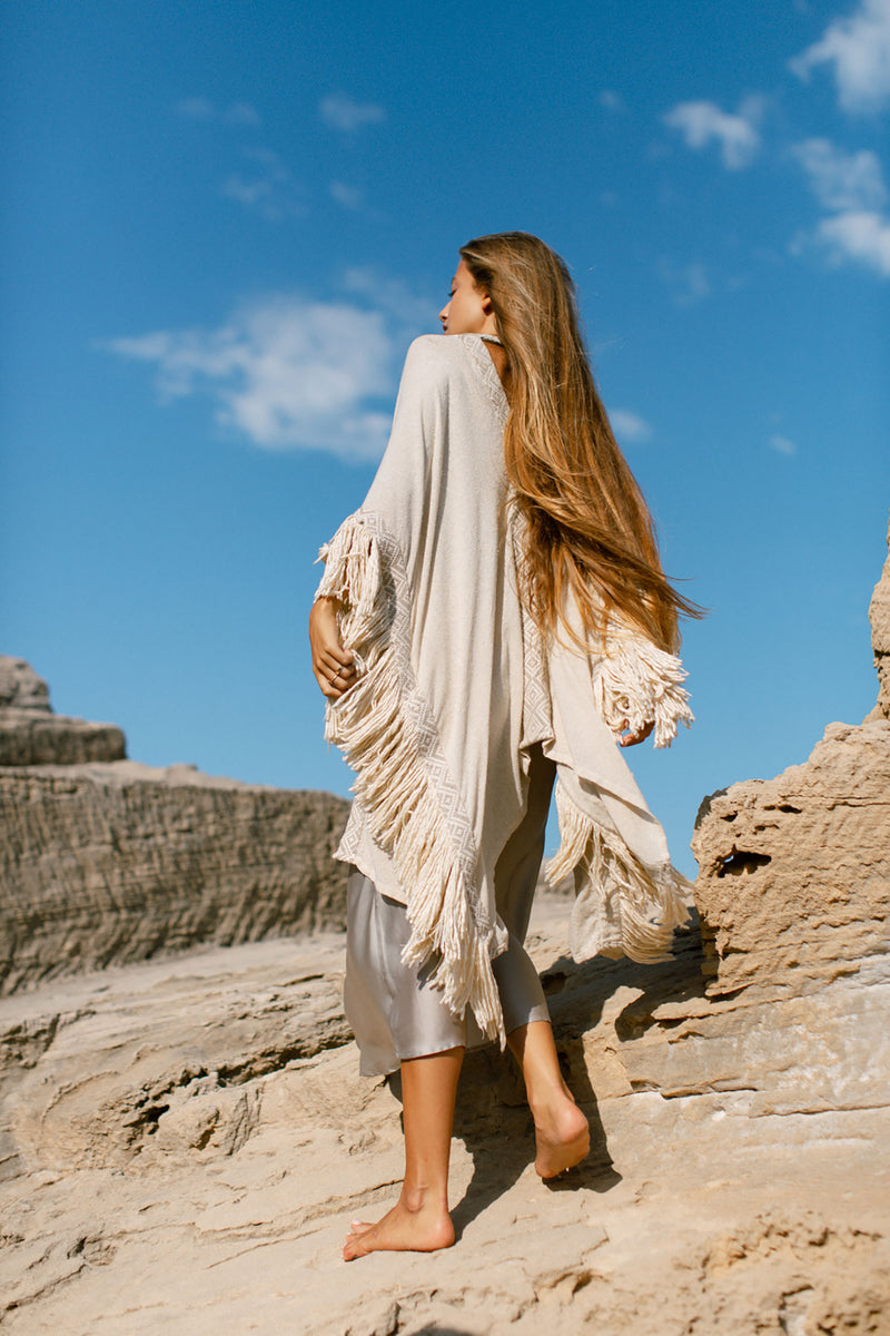 Beyond Poncho in Raw Silk Off White and Tassels
