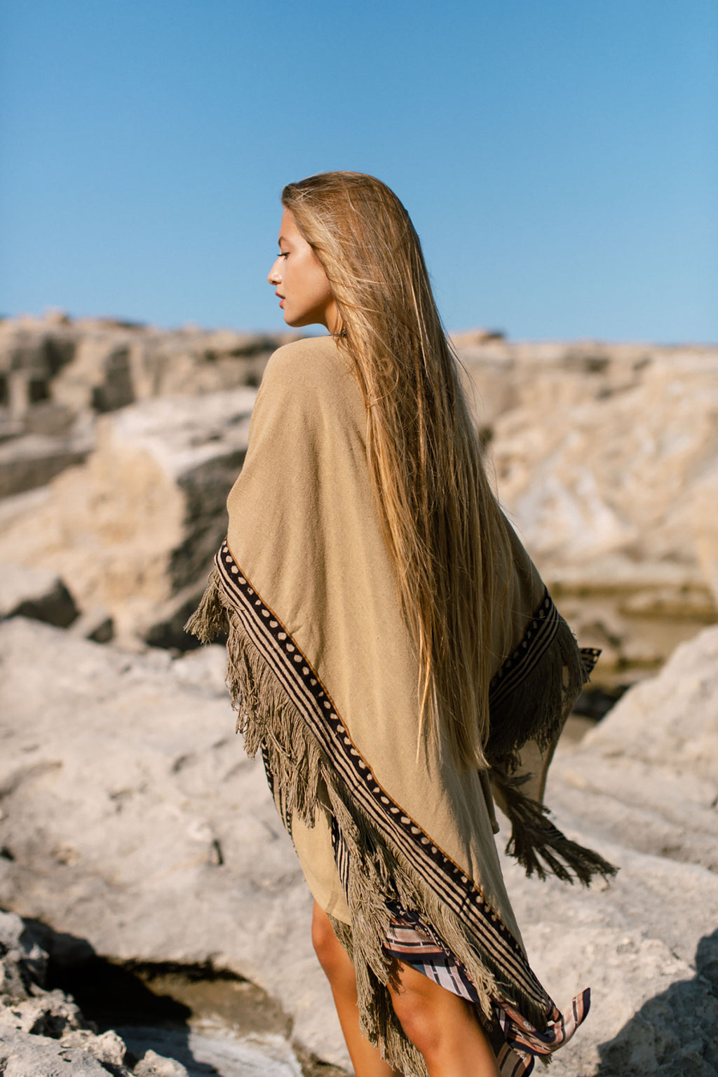 Raw Silk Tasseled Boho Chic Unisex Poncho