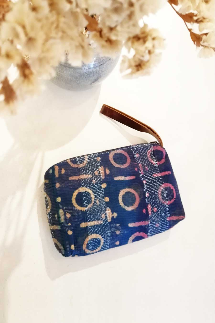Vintage Block Print Fabric Clutch Bag