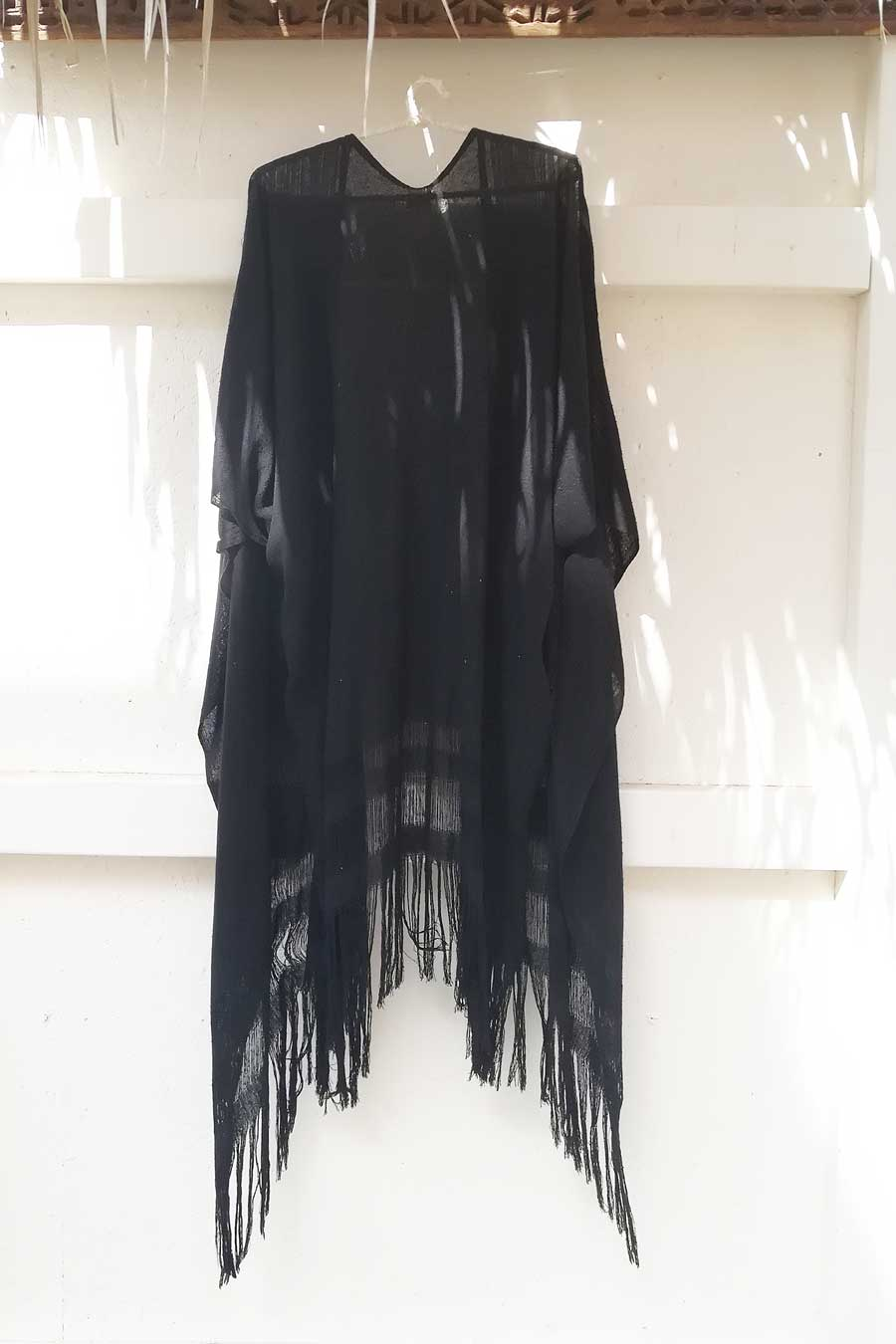 Black Raw Silk Unisex Cape