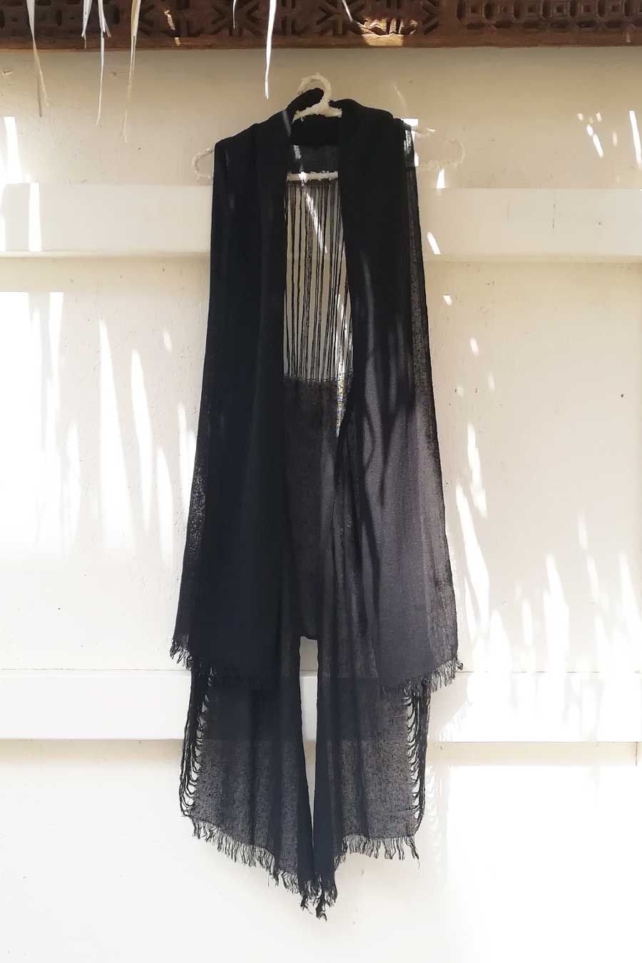 Black Boho Chic Raw Silk Vest