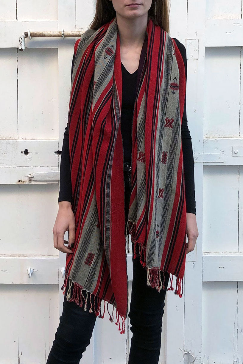 Nagaland Wool Shawl in Black and Red
