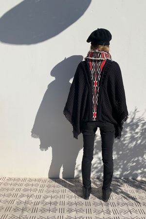 Black and Red Poncho With Tribal Motif