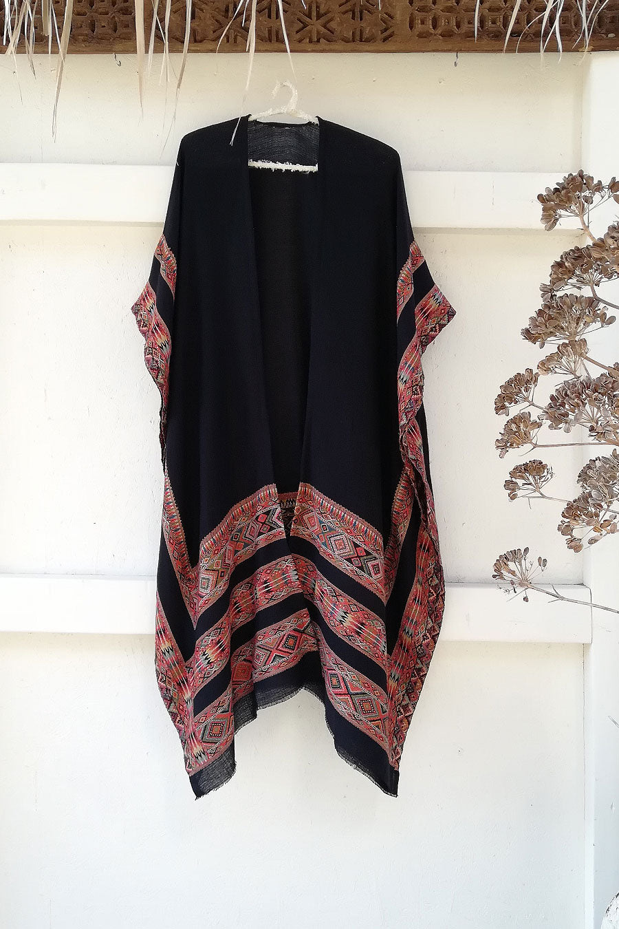 Black Unisex Boho Poncho from Quality Wool