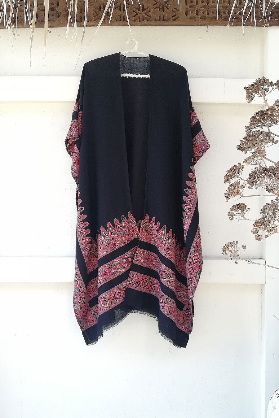 Boho Wool Poncho in Black with Colorful Detail