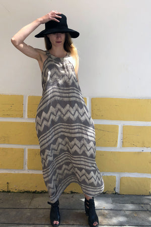 Long Grey Open Back Dress with Block Print