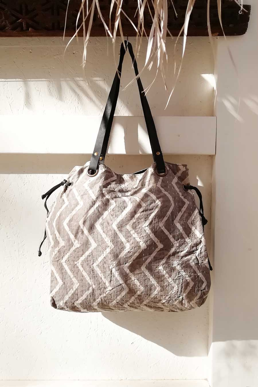 Block Print and Leather Shoulder Tote Bag