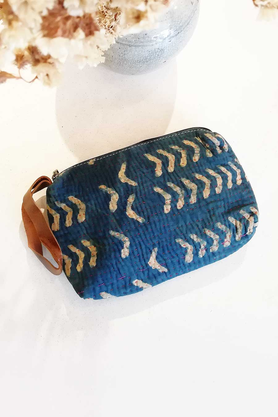 Indigo and Cream Block Print Vintage Fabric Clutch