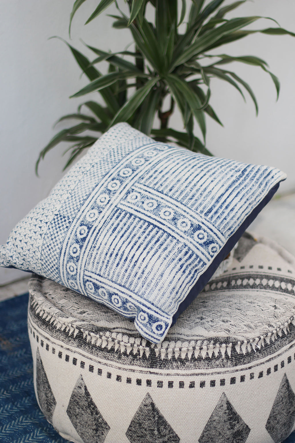 Indigo and Off-White Block Print Cushion Cover