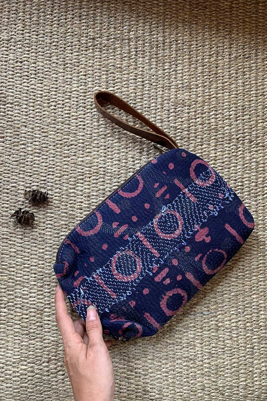 Blue Block Print Womens Clutch Handbag