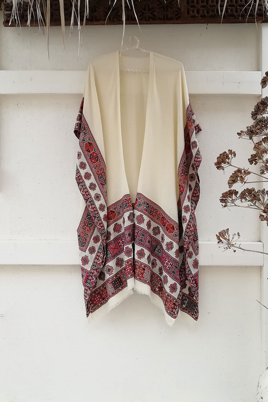 Bohemian Unisex Wool Poncho with Colorful Embroidery