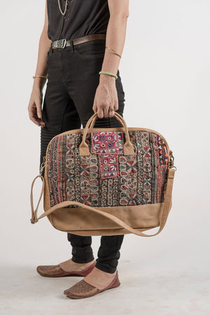 Boho Computer Bag with Antique Fabric