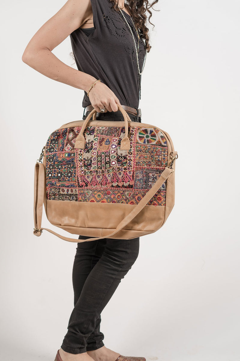 Boho Computer Bag with Leather and Embroidery