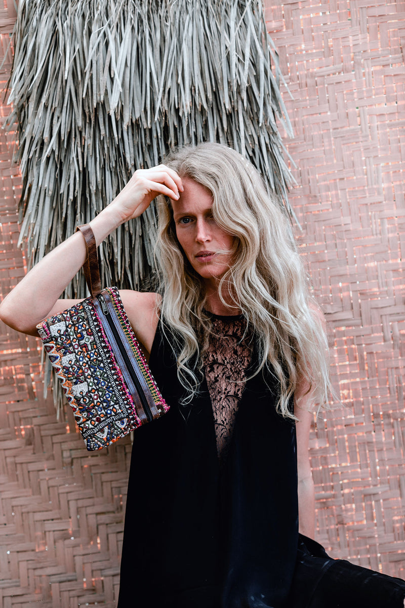 Boho Embroidery and Leather Clutch Wallet
