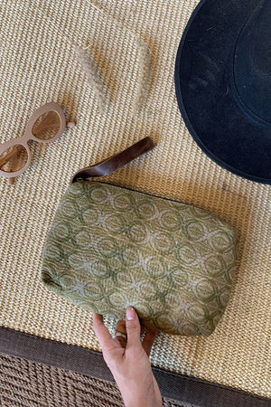 Green Boho Women Clutch Bag with Strap