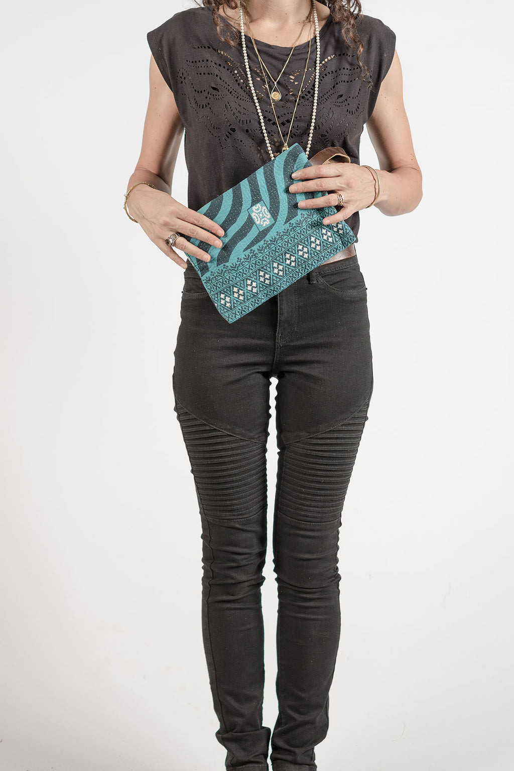 Turquoise Block Print Fabric Clutch Bag