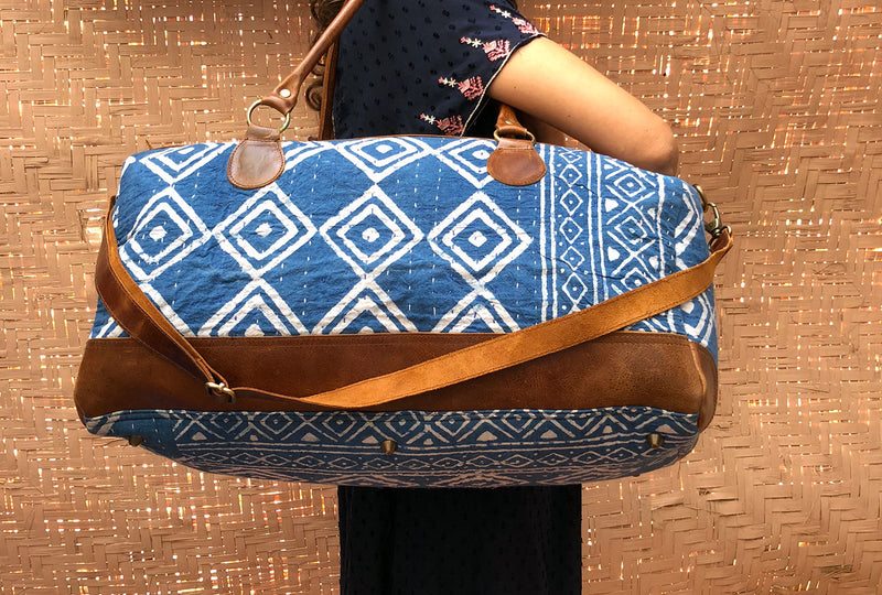 Boho Travel Bag with Vintage Fabric and Leather