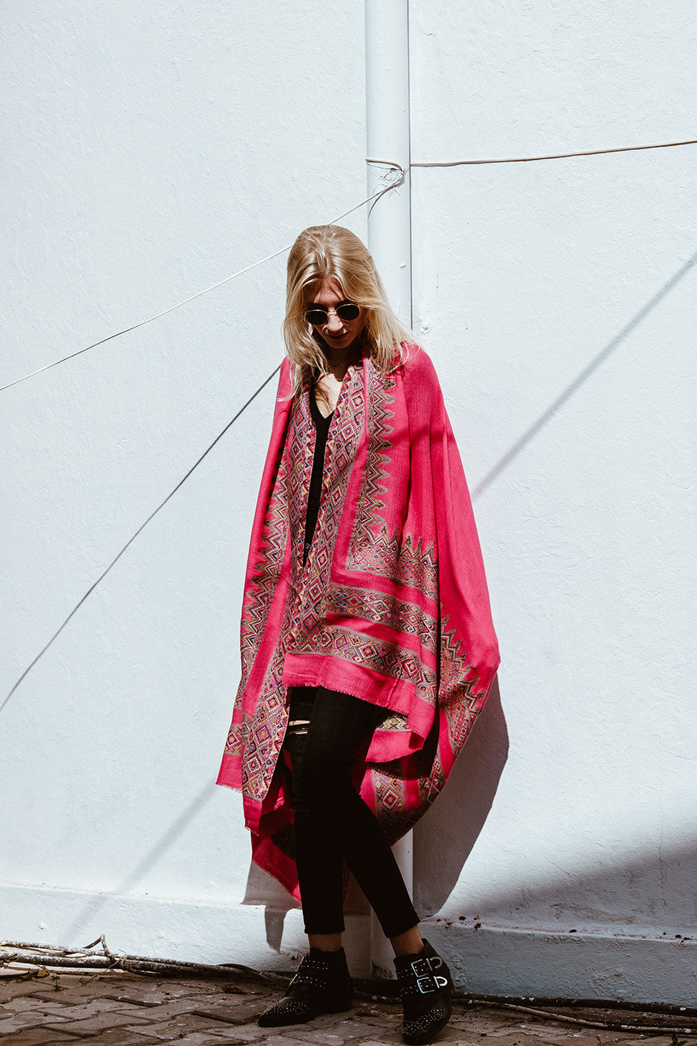 Boho Pink Wool Shawl with Embroidery
