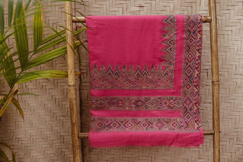 Detail of Boho Pink Wool Shawl with Embroidery