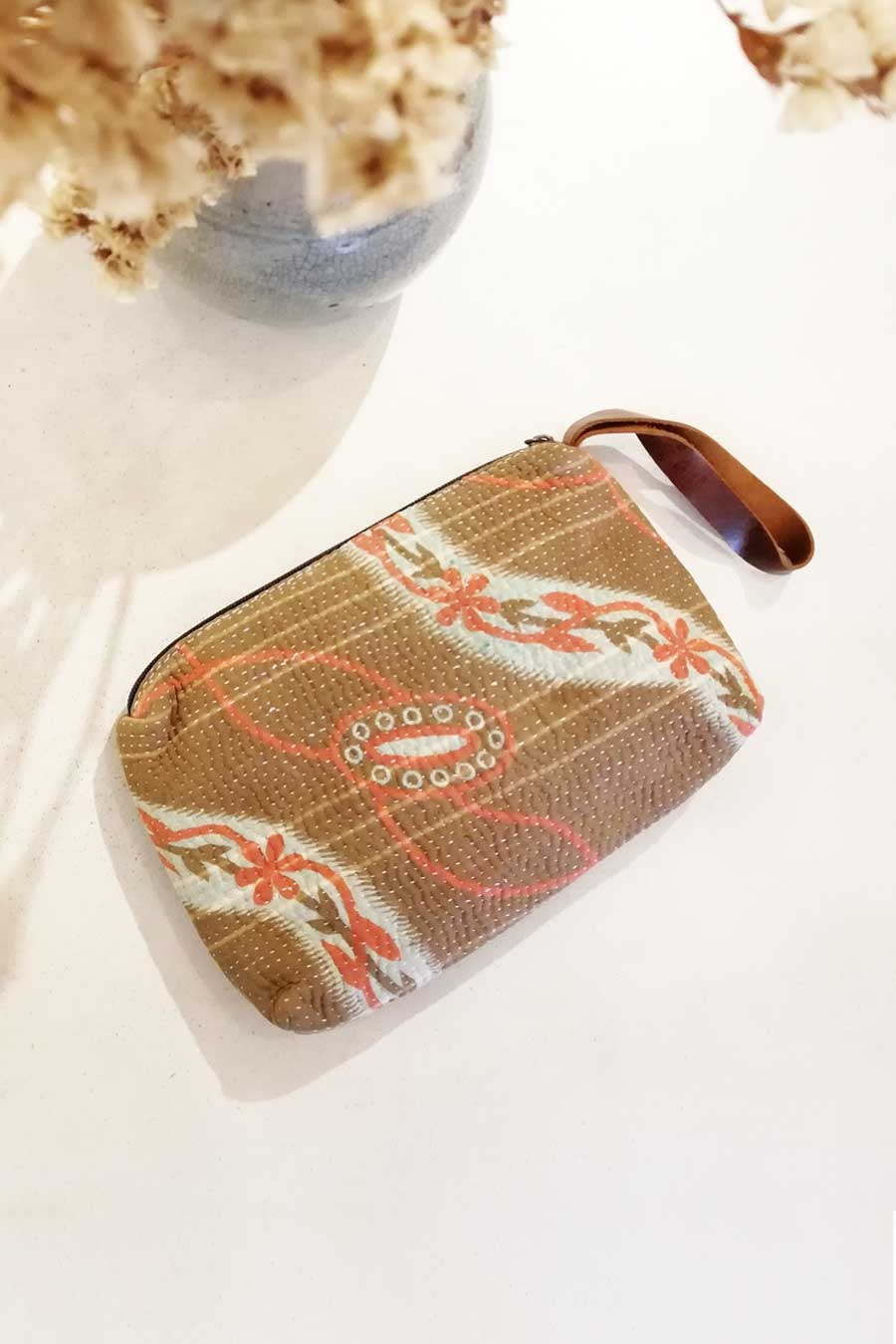 Brown Block Printed Make Up Bag