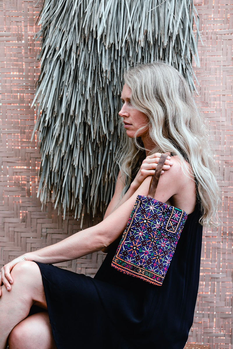 Bohemian Leather and Vintage Embroidery Clutch