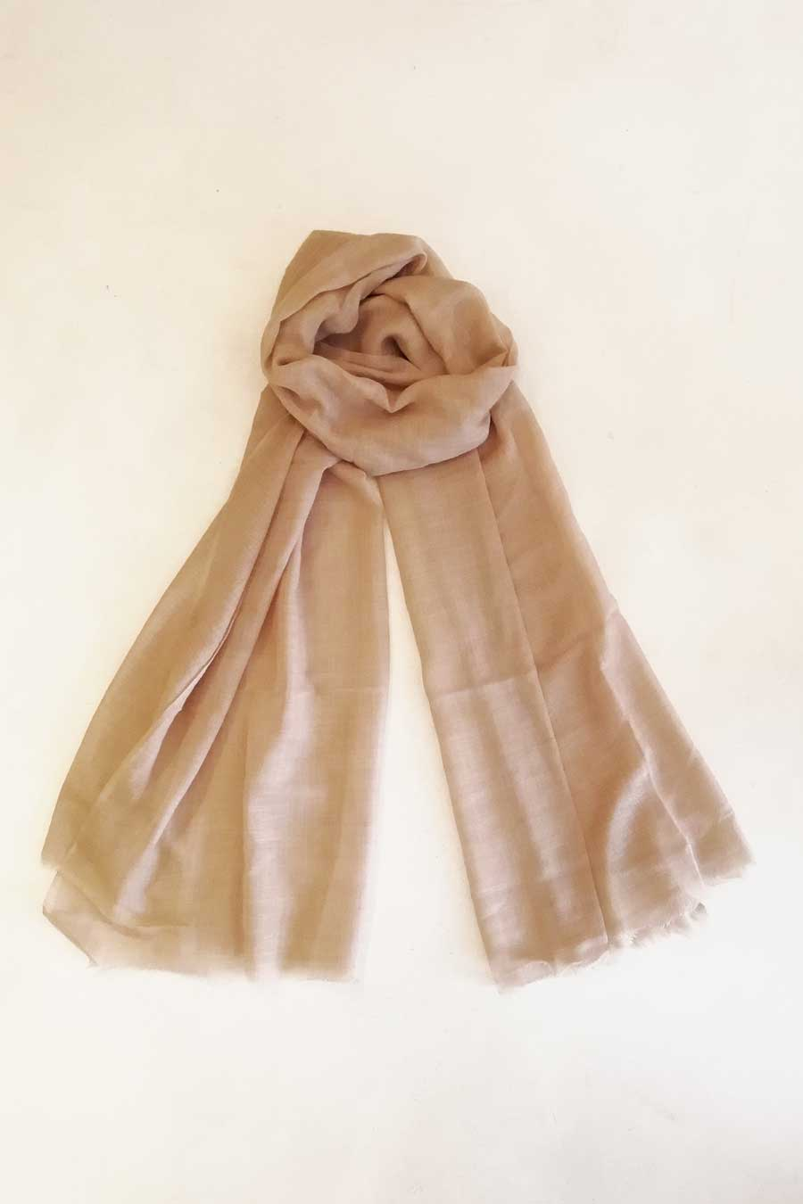 Cotton and Silk Light Brown Scarf
