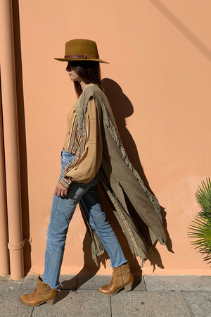 Bush Sage Tassels Raw Silk Vest