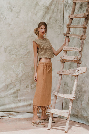 Caravan Skirt Raw Silk Wrap Around Brick