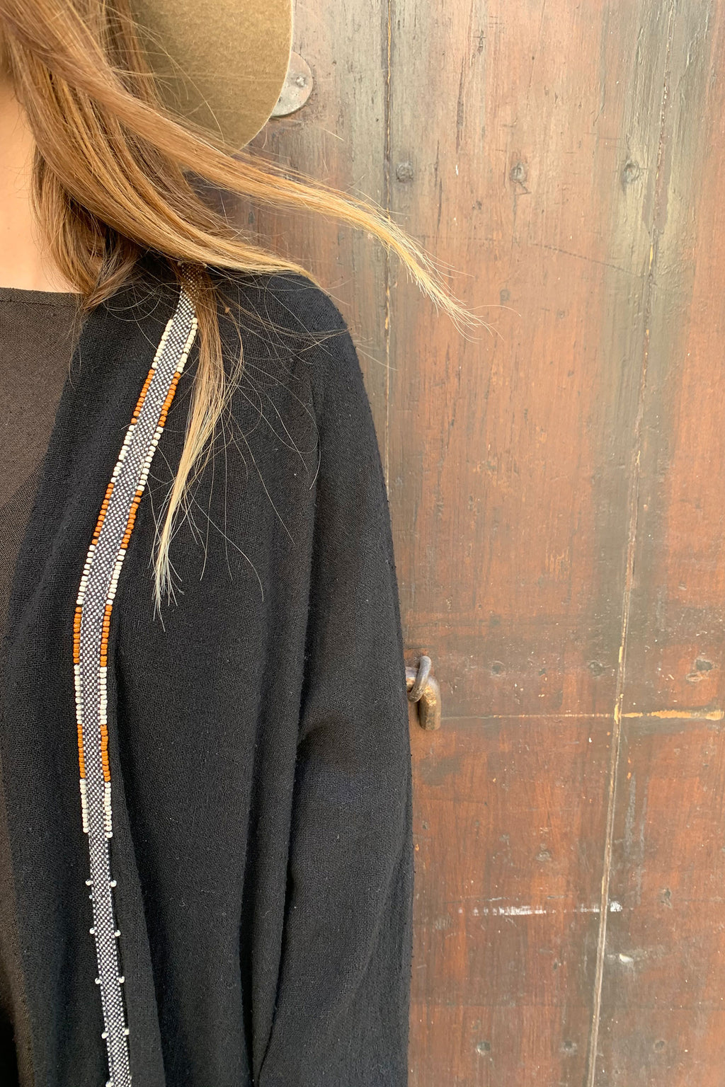 Cocoon Long Black Jacket in Raw Silk