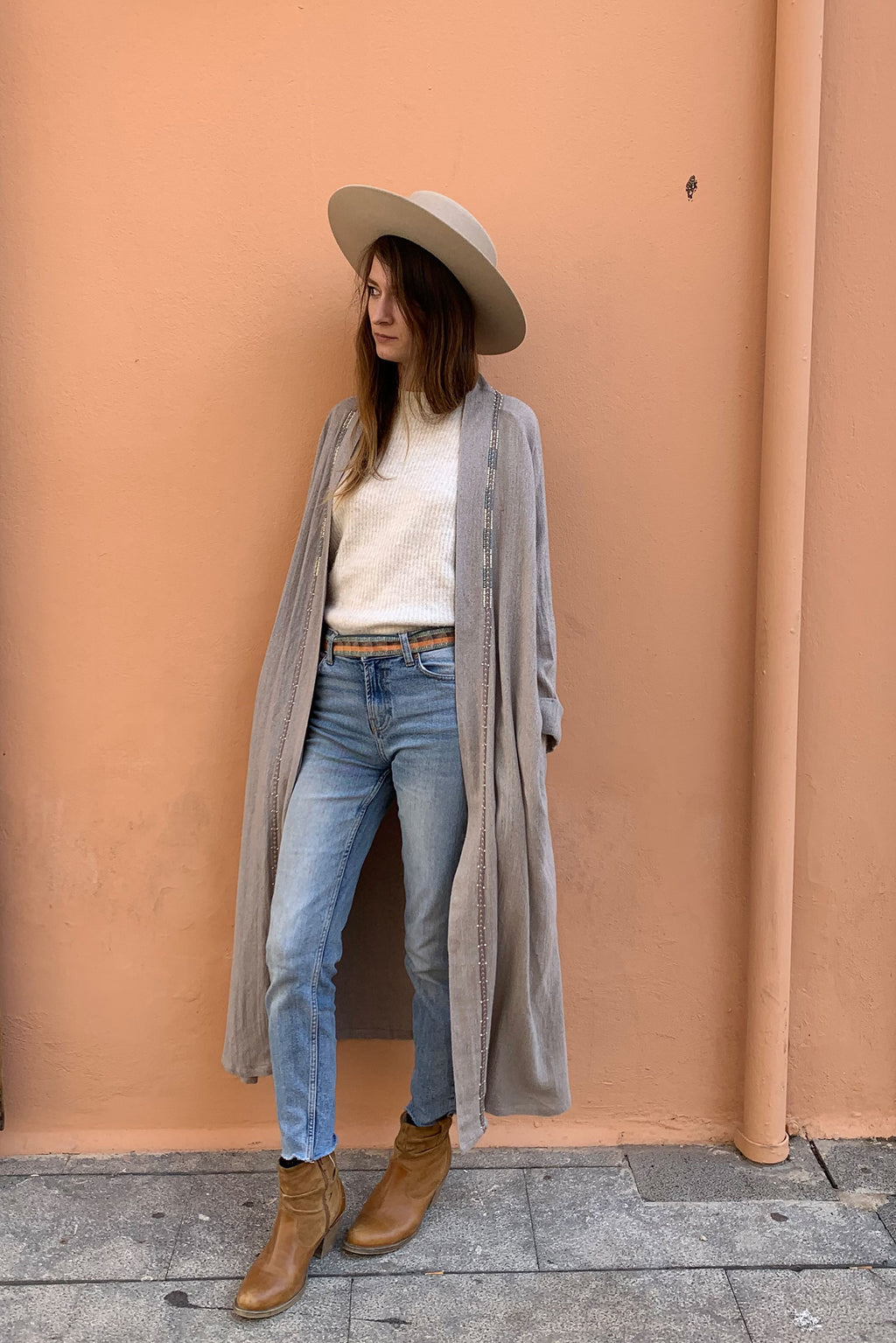 Cocoon Long Jacket Grey Blue Beaded Raw Silk