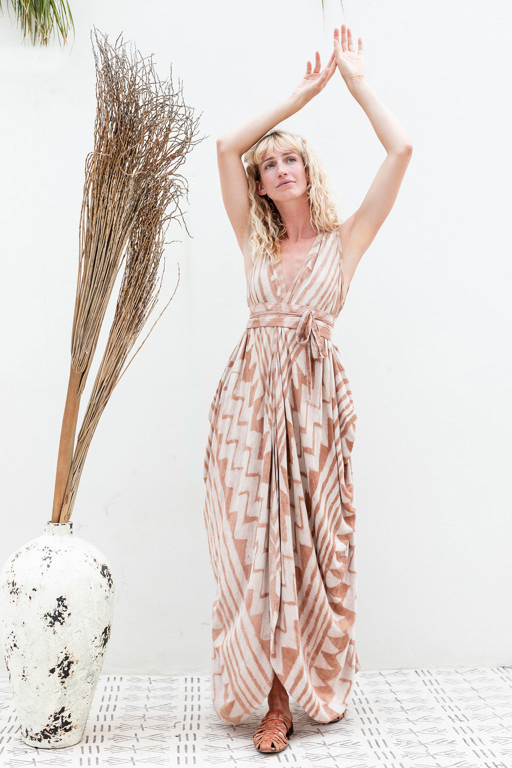 Wrap Dress in Salmon Block Print