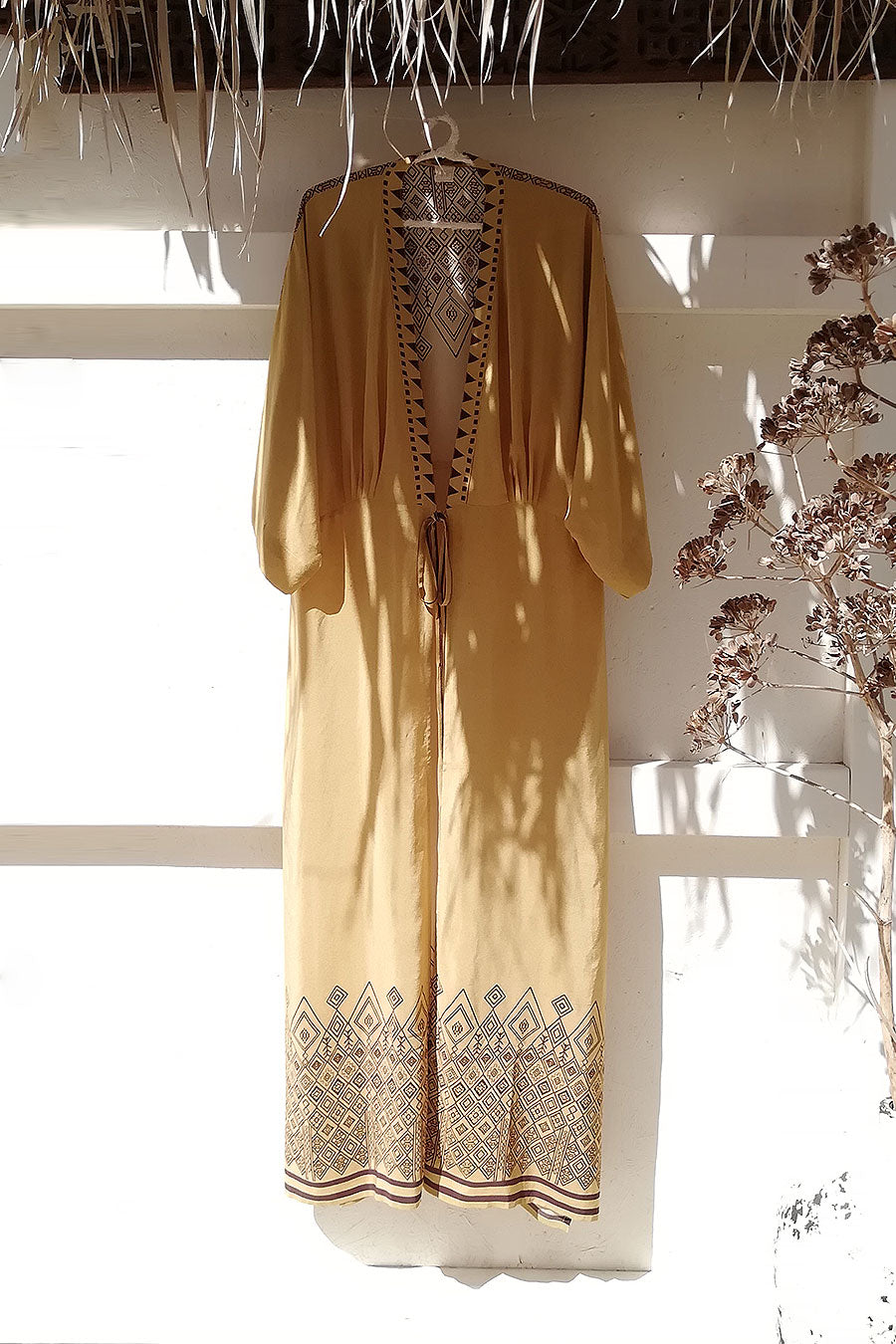 Beige and Brown Printed Silk Kimono Dress