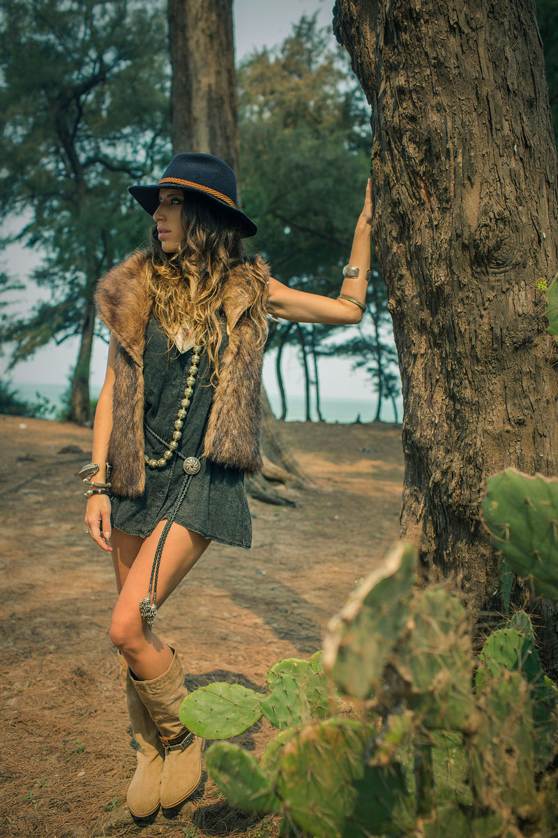 Faux Fur Brown Boho Vest