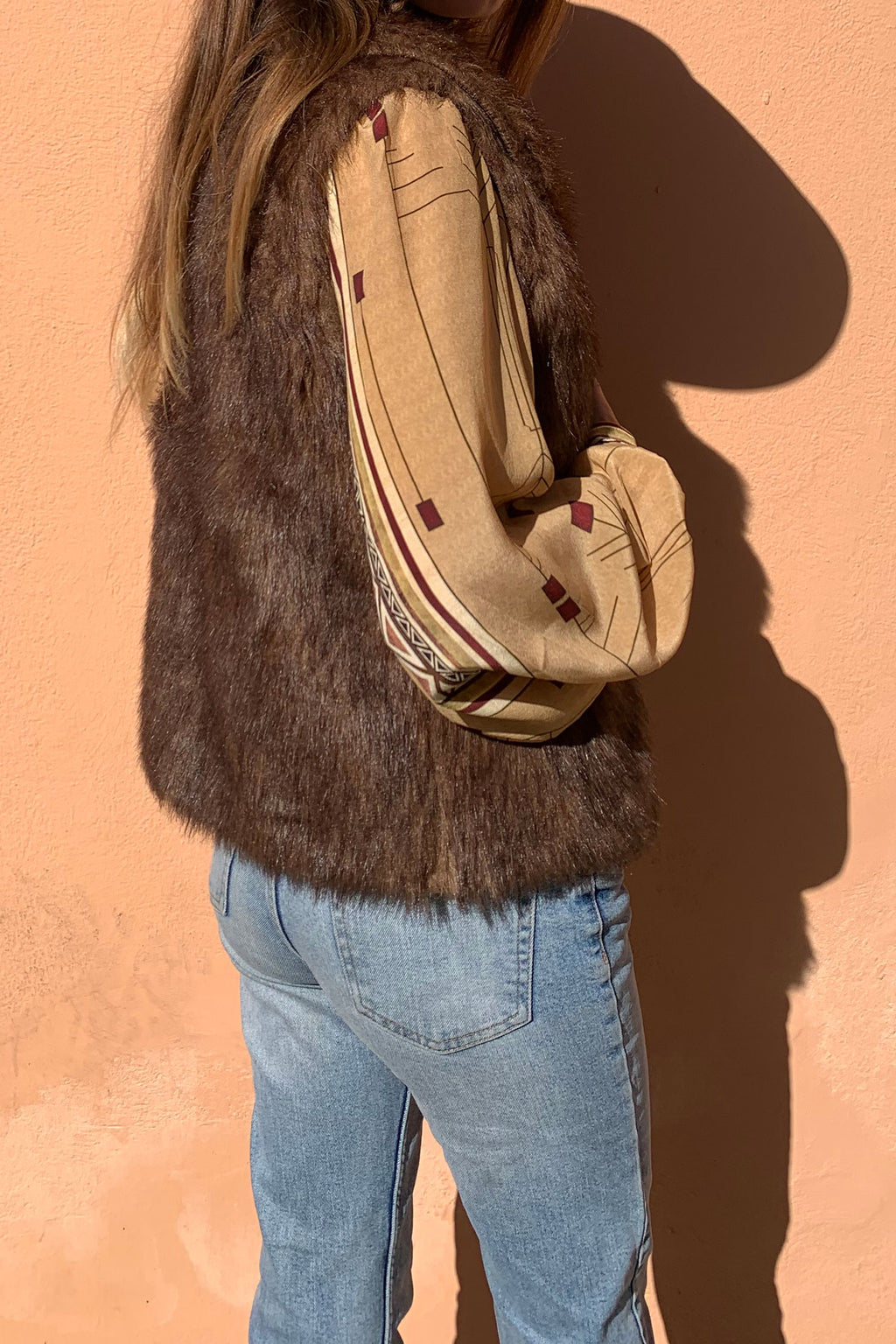 Michell Faux Fur Brown Boho Vest